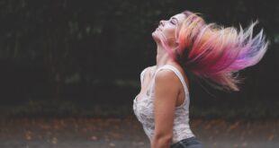 Woman Hair Portrait Flip Hair Flip Colorful Hair